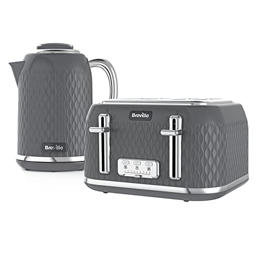 Breville Curve Kettle & Toaster Set with 4 Slice Toaster & Electric Kettle | 3 KW Fast Boil | Grey & Chrome