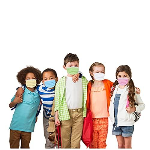 LIHAEI Mund und Nasenschutz,50 Stück Einweg Mann und Frau bunt für Kinder 3-lagig staubdicht Non Woven Face Shield…