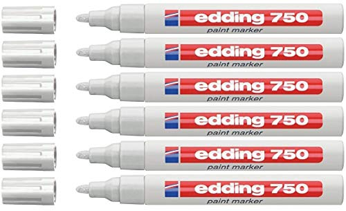 Edding Permanent-Marker, Lackmarker, Weiß, für alle Oberflächen, mittlere Spitze