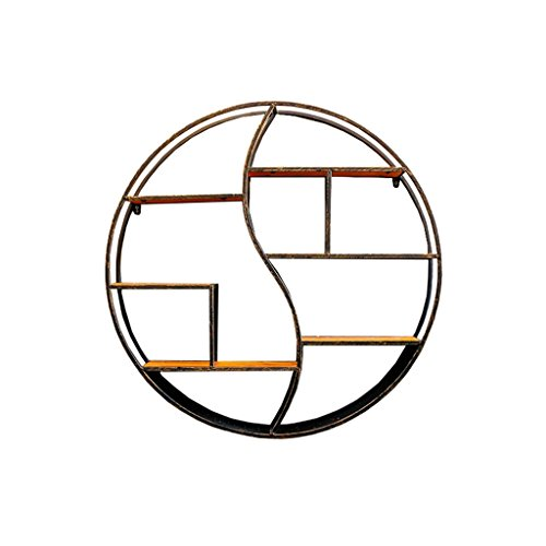 Multifonction Ronde étagère Murale en Bois et en Fer métal pour Salon Chambre à Coucher utilisé pour l'étagère de Stockage Affichage Porte-Bouteilles de vin Flottant décorations Vintage