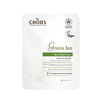 Organic green tea facial mask sheet 1pc, pure natural tencel sheet, eco friendly vegan halal by Silver J