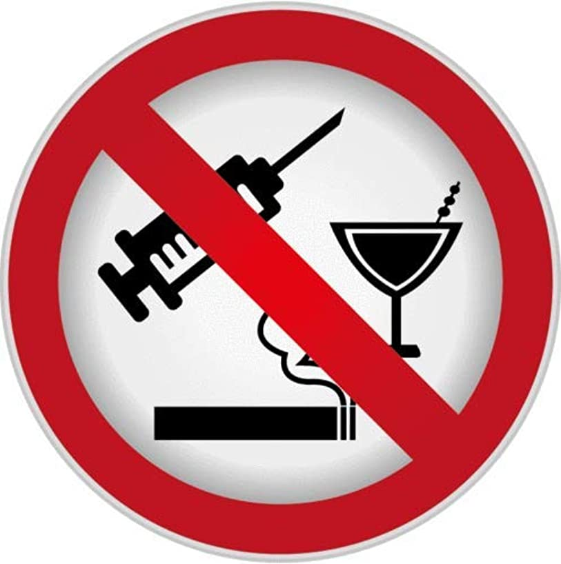 Craftmag Ban Stop Sign No Drug Alcohol Smoking Vinyl Sticker Decal Outside Inside Using for Laptops Water Bottles Cars Trucks Bumpers Walls, 5