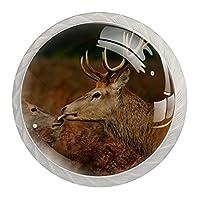 キャビネットノブ4個クリスタルガラスプルハンドル鹿動物かわいいケア鹿 家具のドアまたは引き出しを開く場合