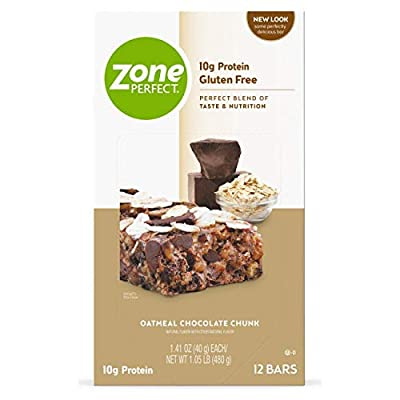ZonePerfect Protein Bars, Oatmeal Chocolate Chunk, Gluten-Free, 10g of Protein, Nutrition Bars With Vitamins & Minerals, Great Taste Guaranteed, 12 Bars