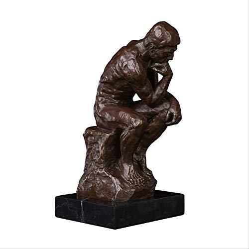 LKXZYX Jardin Exterieur Statue Deco Decoration de Salon Fontaine Interieur,Sculpture de Bureau de Statue Sculpture de Statue de penseur en Bronze célèbre pour la Collection