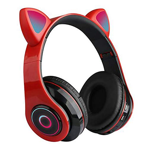 GUANGE Wireless Bluetooth 5.0 Gaming Headset with Mic, Led Light Up Bluetooth Cat Headset, Cat Ear Gaming Headset, Cat Ear Headset for iPhone/iPad/Smartphones/Laptop/PC, Red
