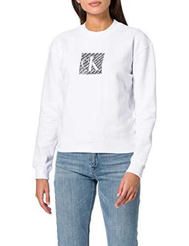 Calvin Klein Jeans Damen Hologram Logo Crew Neck Pullover, Bright White, M