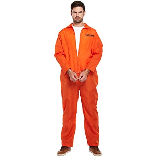 Sofias Closet Mens Boys Prisoner Costume Inmate Stripe Zombie Criminal Fancy Dress Outfit