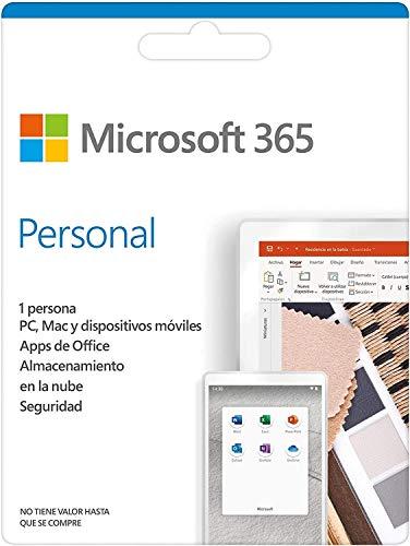 Microsoft 365 Personal | Suscripción anual o mensual | Para 1 PC o Mac, 1 tableta incluyendo iPad, Android, o Windows,...
