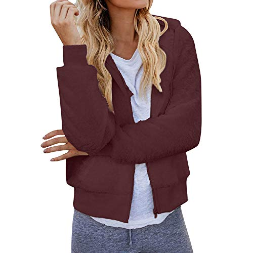 Find Discount WEISUN Women Autumn Jacket Long Sleeve Thick Hooded Open Stitch Coat Jacket Cardigan Outwear Outcoat Wine