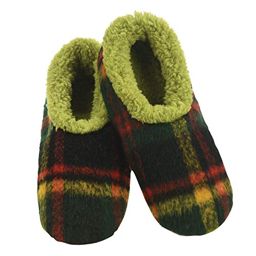 Snoozies Mens Slippers - Plush Plaids - House Slippers for Men - Green & Red - Medium