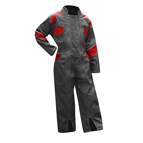 LMA-Mono de trabajo para niño, 2Cremalleras, girasol-bicolor gris/rojo