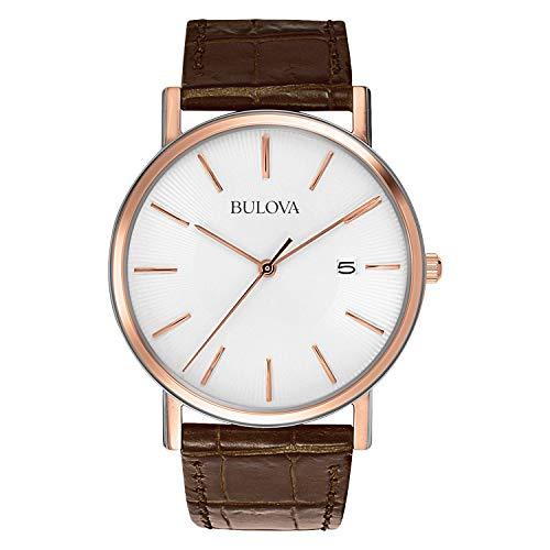 Bulova Relógio masculino 98H51 de aço inoxidável com pulseira de couro de crocodilo