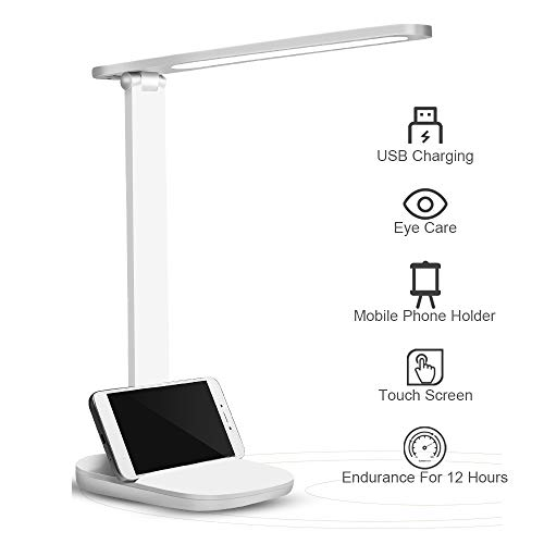 Lampara Escritorio LED, Protección para los Ojos Lámpara de Escritorio RegulableTáctil Control, Lámparas de Mesa USB Recargable, Lámparas mesilla de noche Plegable Luz