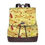 sunminey Damen Lederrucksack Hotdog Women's Leather Backpack Travel Casual Elegant Drawstring Shoulder Bag Travel Bags