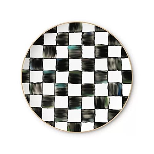 Plato de cena Exportar Blanco y negro Hueso de cinco en-con a-fila Placa de China Placa de postre Placa de Navidad Sirviendo platos Postre Placa de cerámica ( Color : Plate , Plate Size : 8 inches )