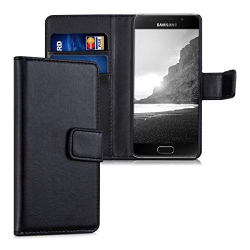 kwmobile Hülle kompatibel mit Samsung Galaxy A3 (2016) - Kunstleder Wallet Case mit Kartenfächern Stand in Schwarz