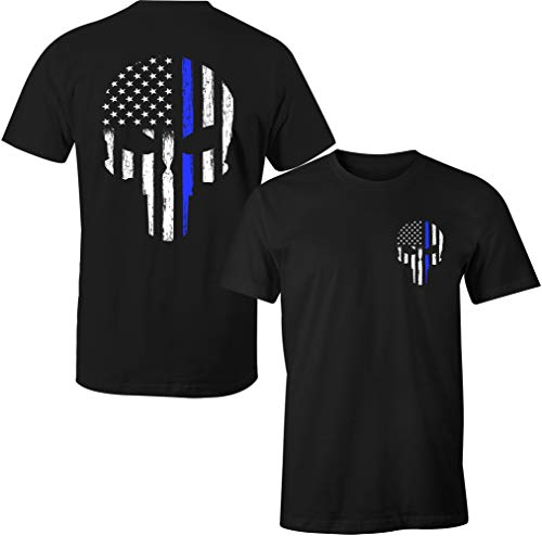 Thin Blue Line Leo Police USA Skull Flag Men's T Shirt (L, Black)