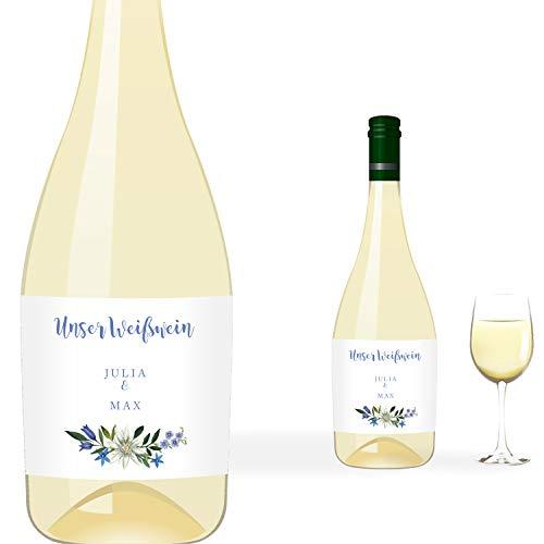greetinks 5 x Personalisierte Flaschenetiketten 'Bella' in Violett | Individuelle Etiketten für Flaschen | 5 Stück Etikett selbstklebend - Hochzeit, Geburtstag - Tisch Deko, Geschenk