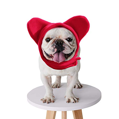 BZB Cute Dog's Fleece Bat Hat Soft Warm Adjustable French Bulldogs Winter Hats Pet Supplies (Small,Red)