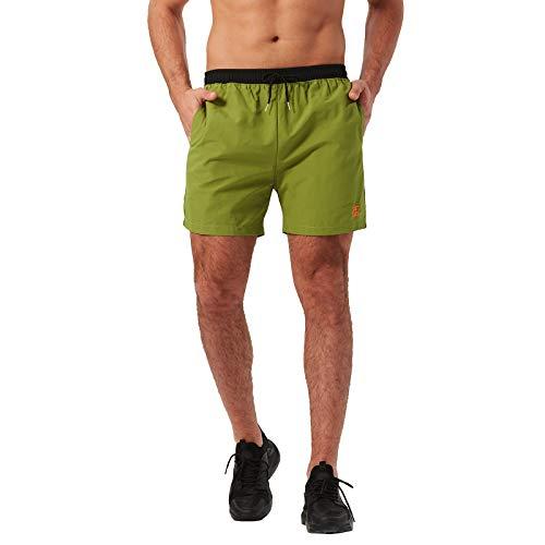 JustSun Badehose Herren Wasserabweisend Sommer Surf Badeshorts Schnelltrockend Schwimmhose mit Mesh-Futter und Taschen Grün Medium