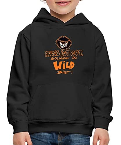Spreadshirt Die Wilden Kerle Spruch Motto mit Logo Kinder Premium Hoodie, 134-146, Schwarz