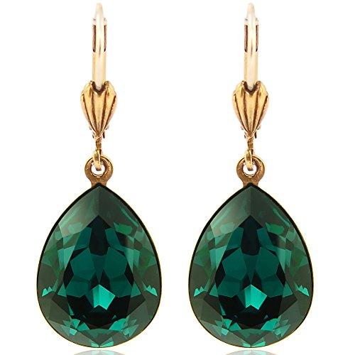 Ohrringe Grün Gold mit Kristallen von Swarovski® Tropfen NOBEL SCHMUCK