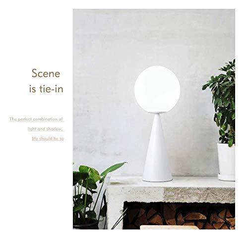 Lámpara de escritorio Estilo posmoderno moda nórdica en forma de cono personalidad creativa escritorio de hierro forjado estudio bola de cristal decoración de la cama lámpara de mesa (color:blanco)