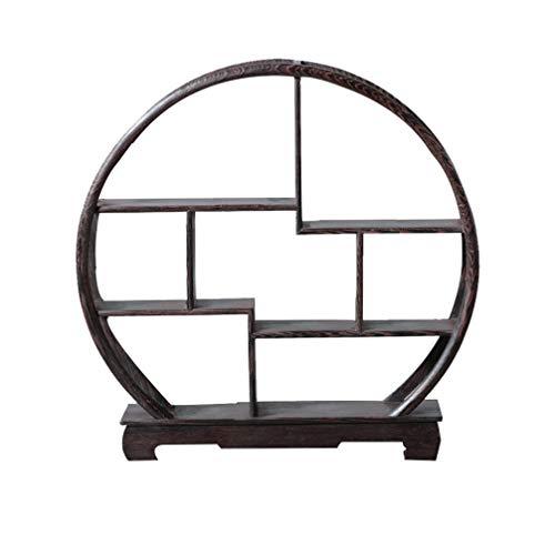 Healifty Chinesische Holz Montieren Vitrinen Palisander Regal für Hauptdekoration ohne Ornamente (Runde Form)
