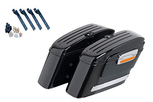 Best Buy! Customacces AZ0810N Hard Saddlebags American (Pair) 22L. + Mounting Kit Kawasaki VN 1500 C...