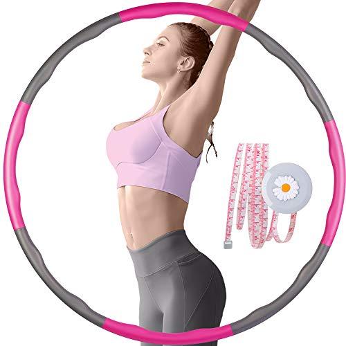 Hula Hoop - Aro de fitness para adultos y niños, 6 – 8 piezas, desmontable, con cinta métrica para adelgazar, masaje, moldear el abdomen