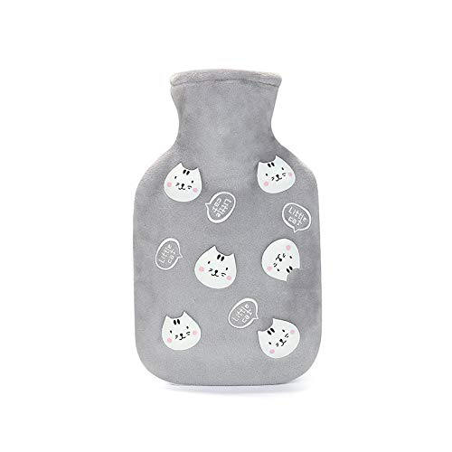 Hot Water Bottle,2Pcs/350Ml Rubber Water Injection Hot Water Bottle Thickened And Velvet Cartoon Cat Hand Warmer Girl Warm Baby