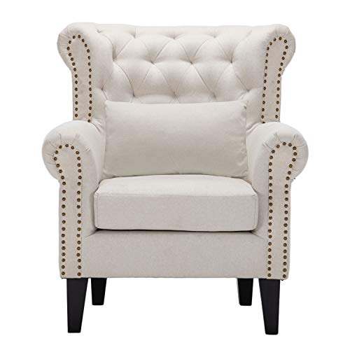 Accent Chair Lounge Chair Living Room Chairs with Arm Upholstered Tufted Armchair Single Sofa Chair Modern Accent Chair Fabric Arm Chair Mid Century Wingback Armchair with Nailhead Trim (Beige)