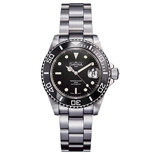 Davosa Ternos Diver 16155550 - Reloj con Mecanismo automático para Hombre con Esfera analógica Color Negro y Pulsera Plateada de Acero Inoxidable