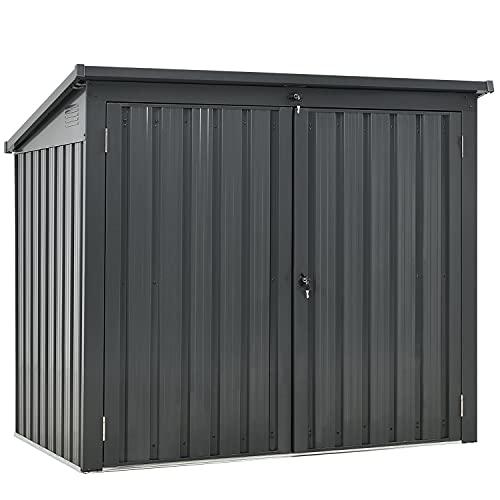 Juskys 2er Mülltonnenbox Genk 1,6 m² anthrazit - Mülltonnenverkleidung abschließbar für 2 x 240L Tonnen – Müllbox wetterfest aus Stahl mit...