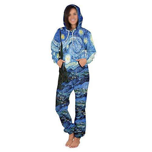 HJFGIRL Mono de Una Pieza para Mujer,Mameluco con Cremallera Sportwear de Manga Larga Clubwear,Más El Tamaño de Los Pantalones Casuales de Lana Suelta Tendencia,B-Small