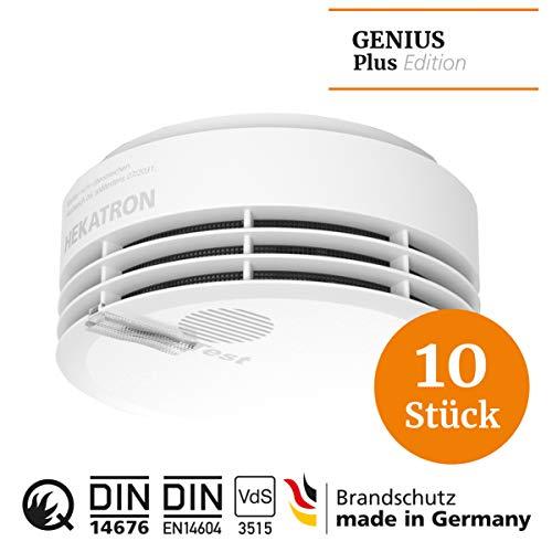 Hekatron 31-5000020-17-01 Rauchmelder Genius PLUS – Optional funk-vernetzbar – 10 Jahre Lebensdauer der Batterie & mehrfarbig LED – Rauchwarnmelder in Weiß – 10er Set