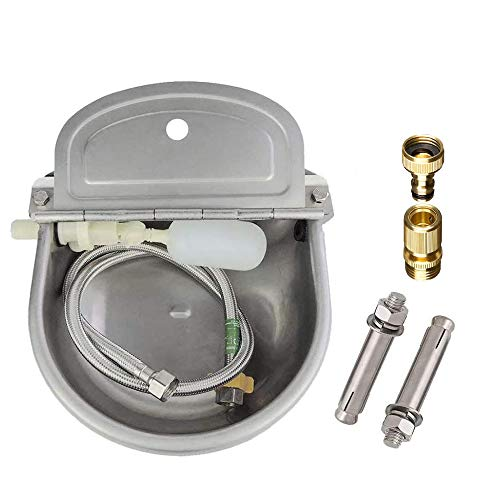 Lucky Farm Automatic Cattle Waterer Horse Sheep Goat Pig Dog Water Trough 4 in1 Livestock Watering Equipment (Water Bowl&Pipe&Adaptor&Mounting Screws)