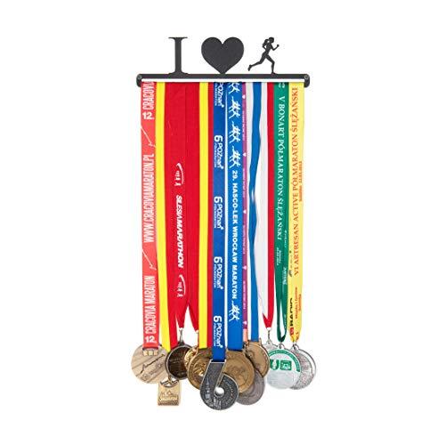 Porte-médaille avec médaille - Nom : I Love Running pour Femmes - 28 cm - Médailles de Suspension : jusqu'à 20 - Acier recouvert de Poudre Noire.