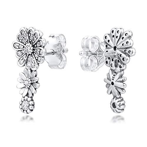 PANDOCCI 2020 - Pendientes de tuerca con diseño de margaritas y flores brillantes para mujer, plata 925, se adapta a pulseras originales Pandora