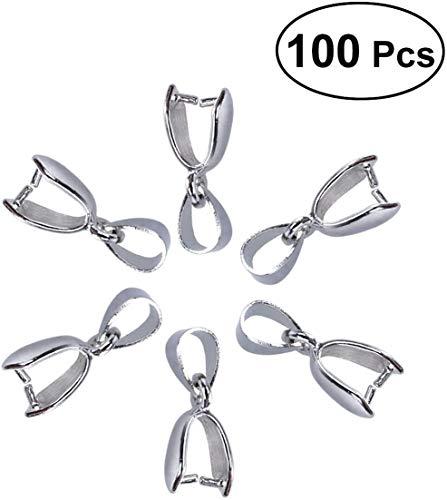 ROSENICE 20mm Anhängerschlaufe Ösen Anhänger Kettenverschluss Clip Schmuck DIY Zubehör 100 Stück (Silber)