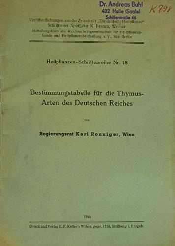 Bestimmungstabelle für die Thymus-Arten des Deutschen Reiches