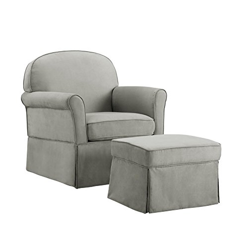 Baby Relax Swivel Glider Chair and Ottoman Set, Light Gray Microfiber