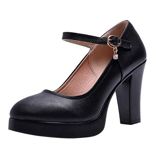 Luckycat Zapatos de tacón Ancho Altas Vestir Noche Chic para Mujer Otoño Calzado de Cuña Dama Sólido Negras Moda Calzado…