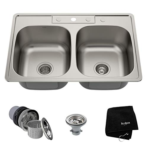 Kraus KTM33 33 inch Topmount 50/50 Double Bowl 18 gauge Stainless Steel Kitchen Sink