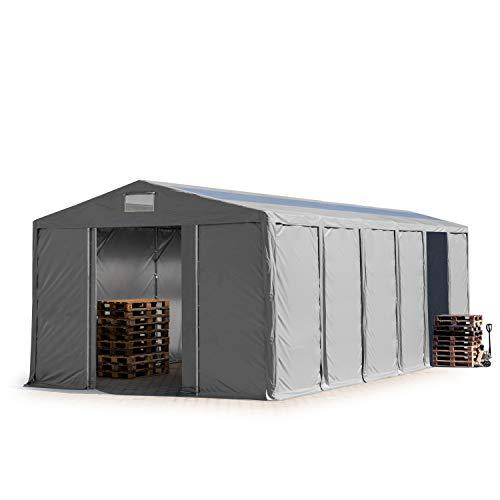 TOOLPORT Lagerzelt Industriezelt 8x12 m Zelthalle mit Oberlicht 4,0m Seitenhöhe grau ca.550g/m² PVC Plane 100% Wasserdicht Schiebetor