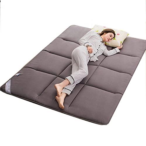 AZD Colchones 2 cm colchones de Plato futón Plegable Suave Plegable colchón portátil Ultra-Delgado Doble/Solo futones japoneses japoneses, para Personas como Dormir Cama Dura,Gris,150x200cm