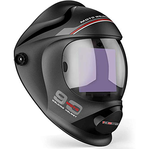 Tekware Ultra Large Viewing Screen True Color Solar Power Auto Darkening Welding Helmet, Hemispherical 4C lense, 4 Arc Sensor Wide Shade 4~5/9-9/13...