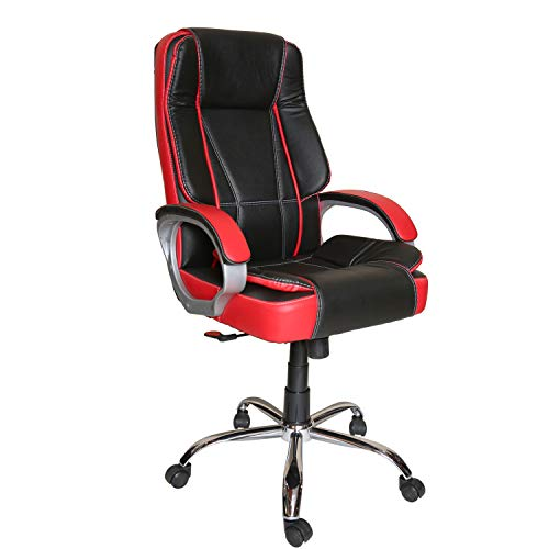 CELLBELL C102 Chromium Steel High Back Office/Computer/Desk/Gaming Chair (Black-Red)