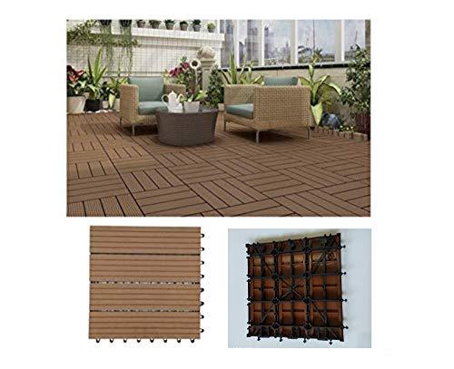 COMERCIAL CANDELA FELPUDOS Y ALFOMBRAS 6 Unidades Baldosas Jardín para Terraza, Balcón, Suelo Exterior 30x30 cm 0.54m² Color Marrón